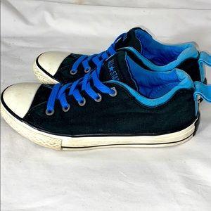 Converse all star low tops black blue junior Sz 2